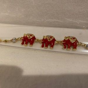 Jewelry - Red Elephant Bracelet with Swarovski Crystals